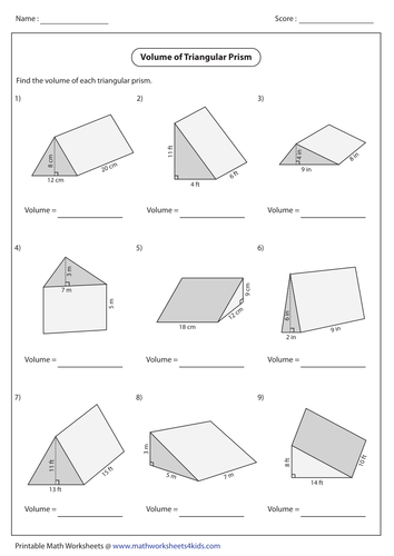 Surface area of 3d shapes worksheet tes