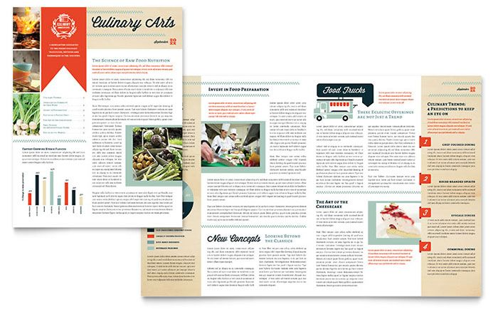 Culinary School Newsletter Design Template by StockLayouts - newsletter templates free microsoft word