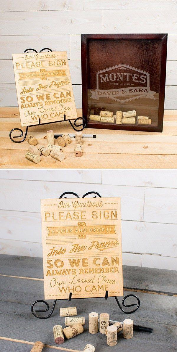 27 Wine Cork Shadow Box Wine Cork Guest Book Wooden Alternative
