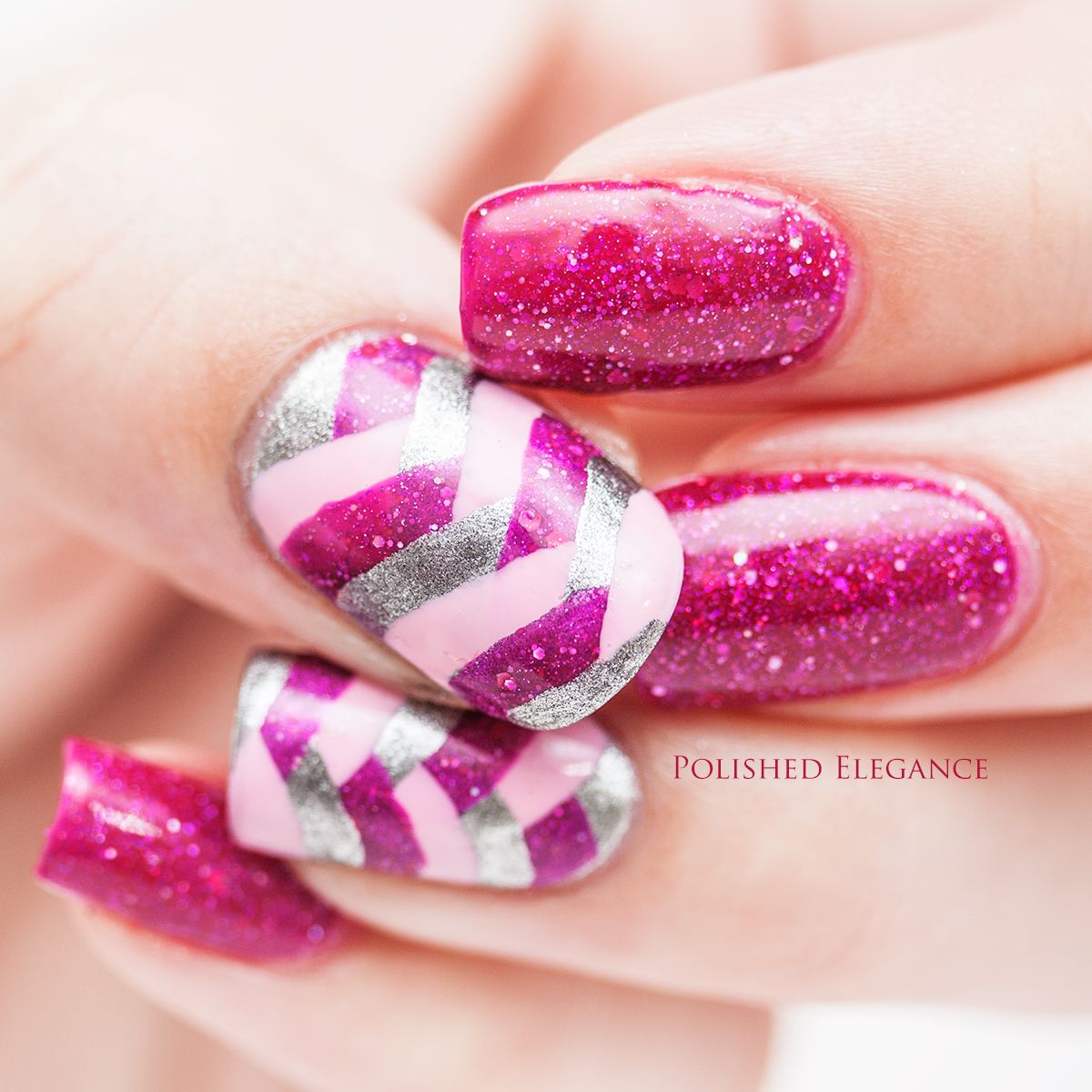 KBShimmer - It's Razz-ical swatch review nail polish fishtail braid nail art manicure