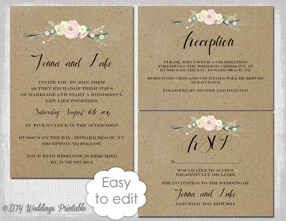 "rustic wedding invitation templates suite diy ""rustic flowers, Wedding invitations"