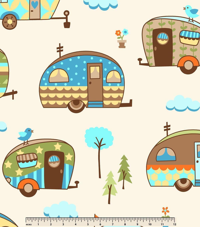 Anti pill fleece fabric happy campers cream