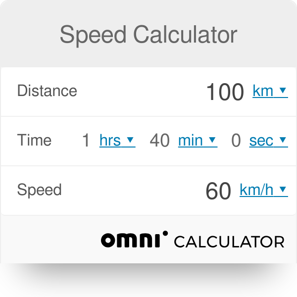Speed Calculator - Omni | Good Things To Know | Calculator, Angular