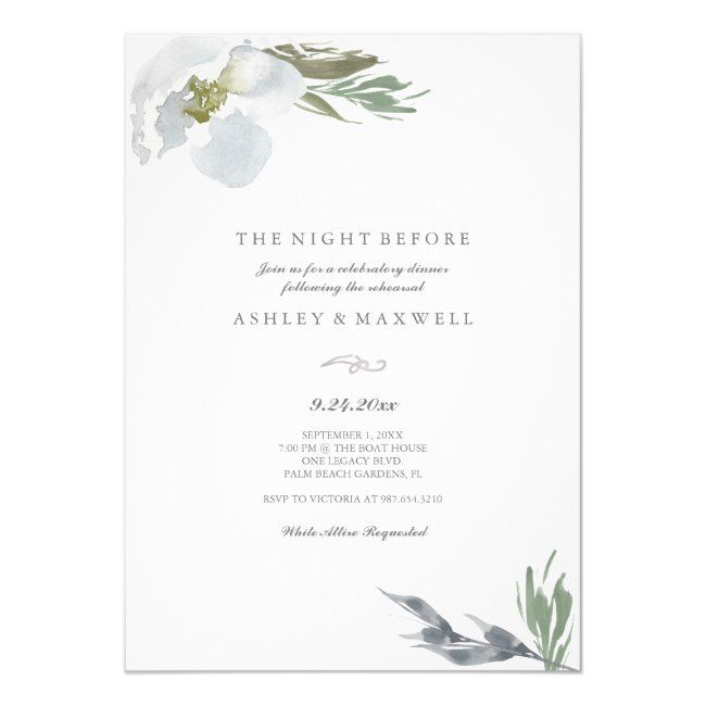 Rehearsal Dinner Cool Grey Watercolor Florals Invitation