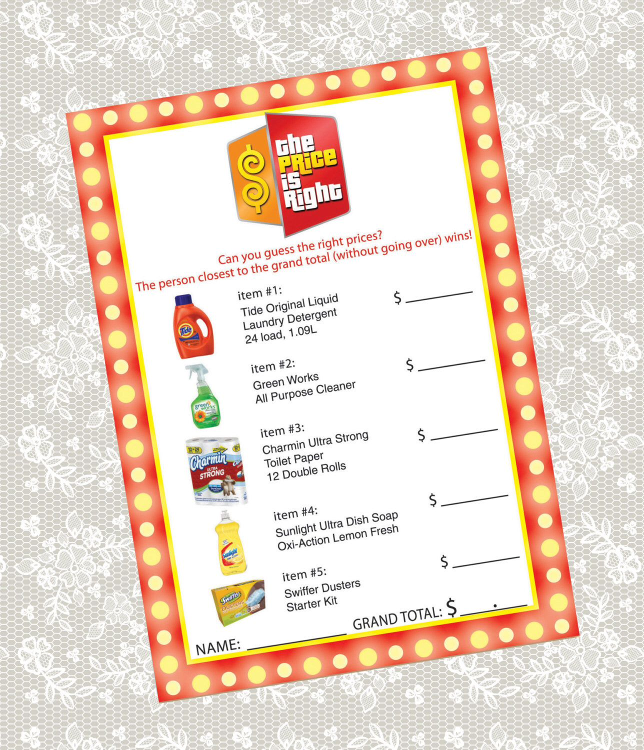 Printable 'The Price is Right' Bridal Shower game card by