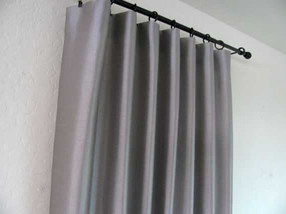 Flat Panel Lined Custom Curtain Rod Pocket In Dove Grey Faux