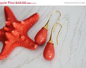 SUMMER SALE Coral Pink Majorca Stone Briolette Earrigs with Gold Filled wires.