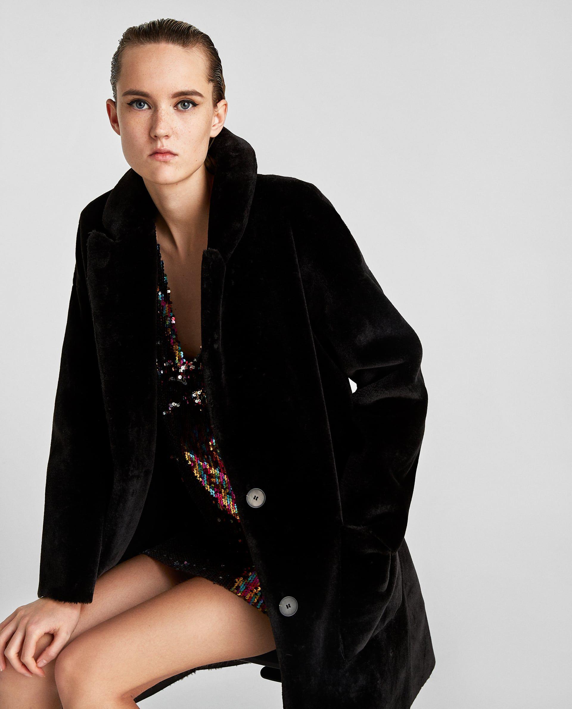 Image 4 of FAUX FUR COAT from Zara Black faux fur coat