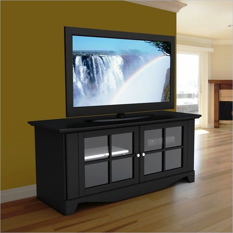 56 Tv Stand In Black Lacquer With Doors Lcd Tv Stand Tv Stands