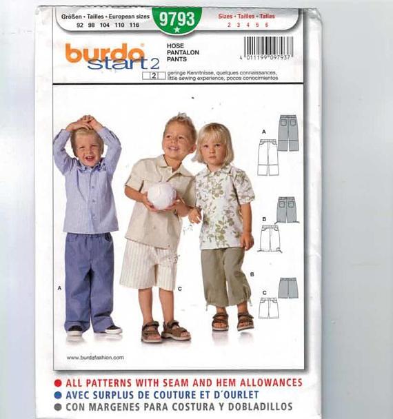 Kids Sewing Pattern Burda 9793 Boys Girls Pants Cargo Shorts ...