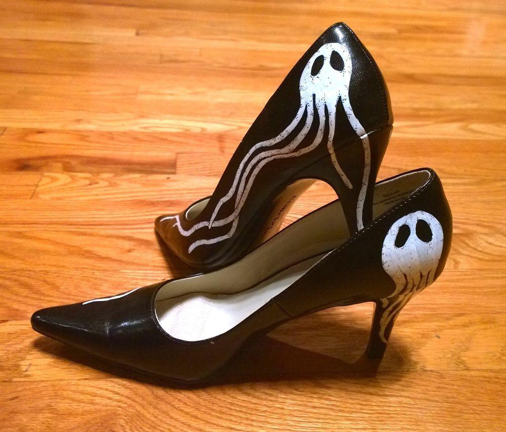 Customized Hand Painted Personalized Heels Black & White Pumps Classics size 7.5 #CustomizedPersonalized #PumpsClassics