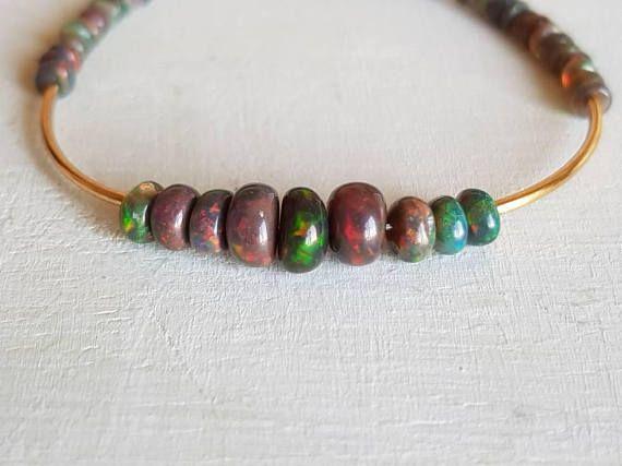 Black Opal Bracelet Ethiopian Opal Bracelet Christmas Gifts Wife