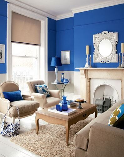 Royal Blue Tan White Living Room Blue Living Room Blue Rooms Blue Living Room Color