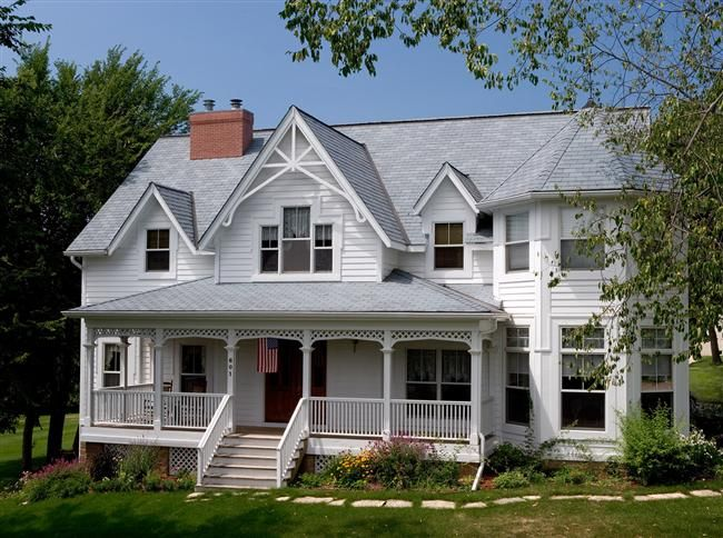 Like The Roof Of This Handsome Farmhouse Ours Will Feature Majestic Synthetic Slate Made Of 80 Super Long Lasti Synthetic Slate Roofing Synthetic Slate House