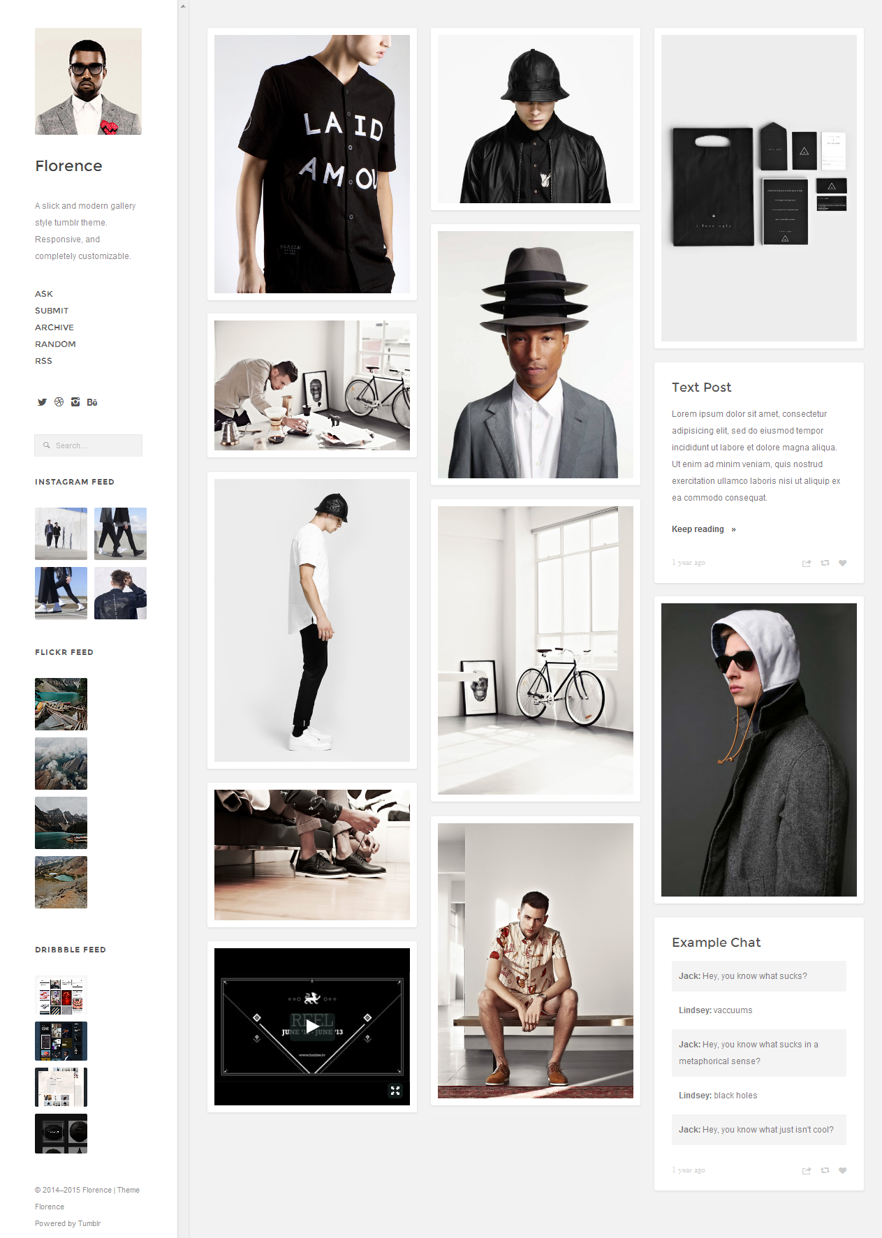 A slick and modern gallery style #tumblr theme. Responsive, and completely customization website template. #Photography