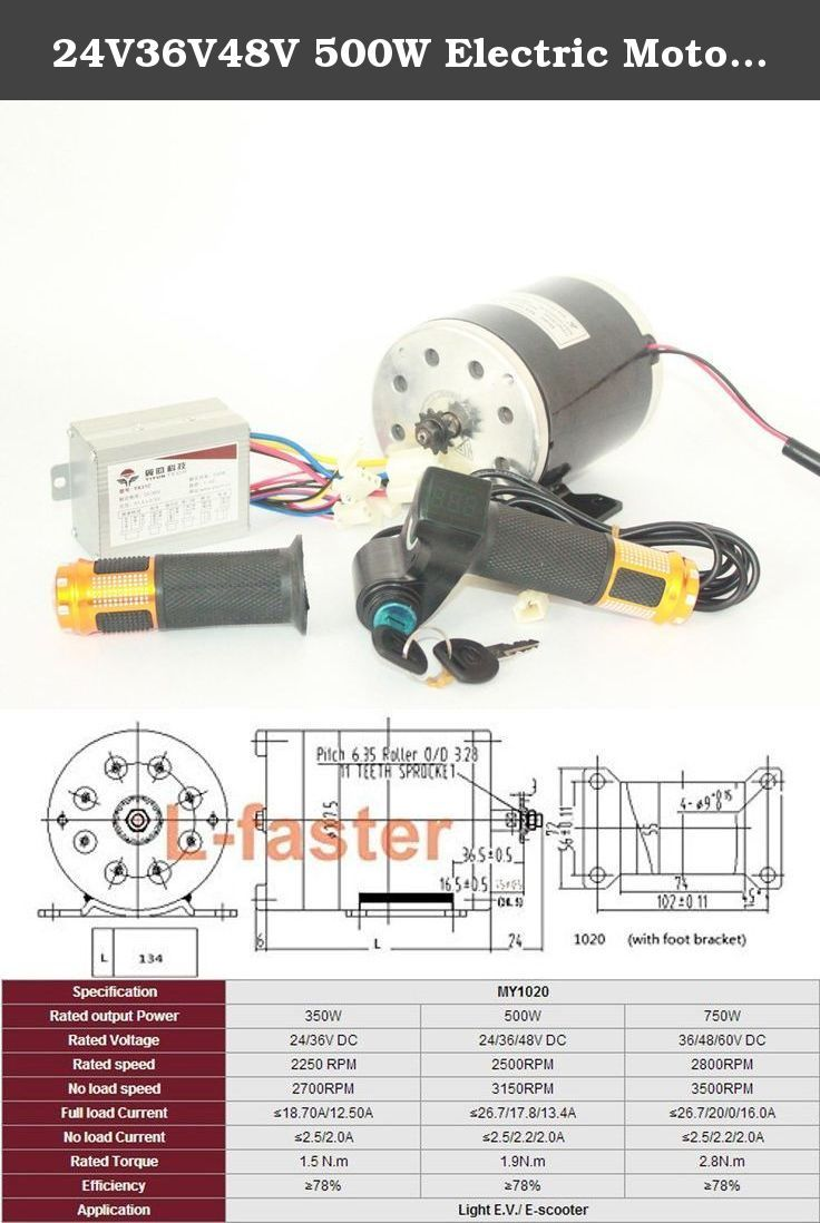 24v36v48v 500w electric motor brushed dc motor kit electric scooter rh pinterest se
