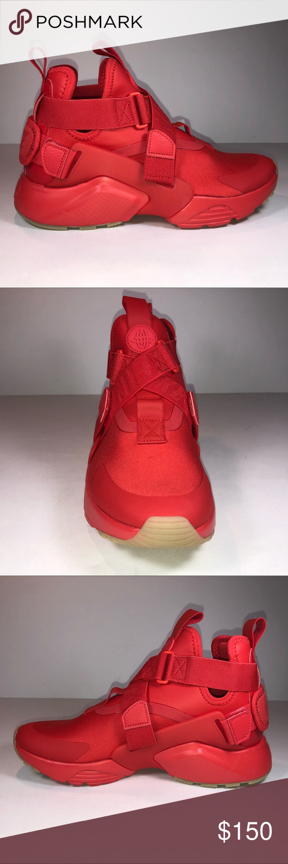 55f64babf2b99 Nike Air Huarache City Speed Red   Tan Bottom Shoe New With Damaged Box  Missing Lid