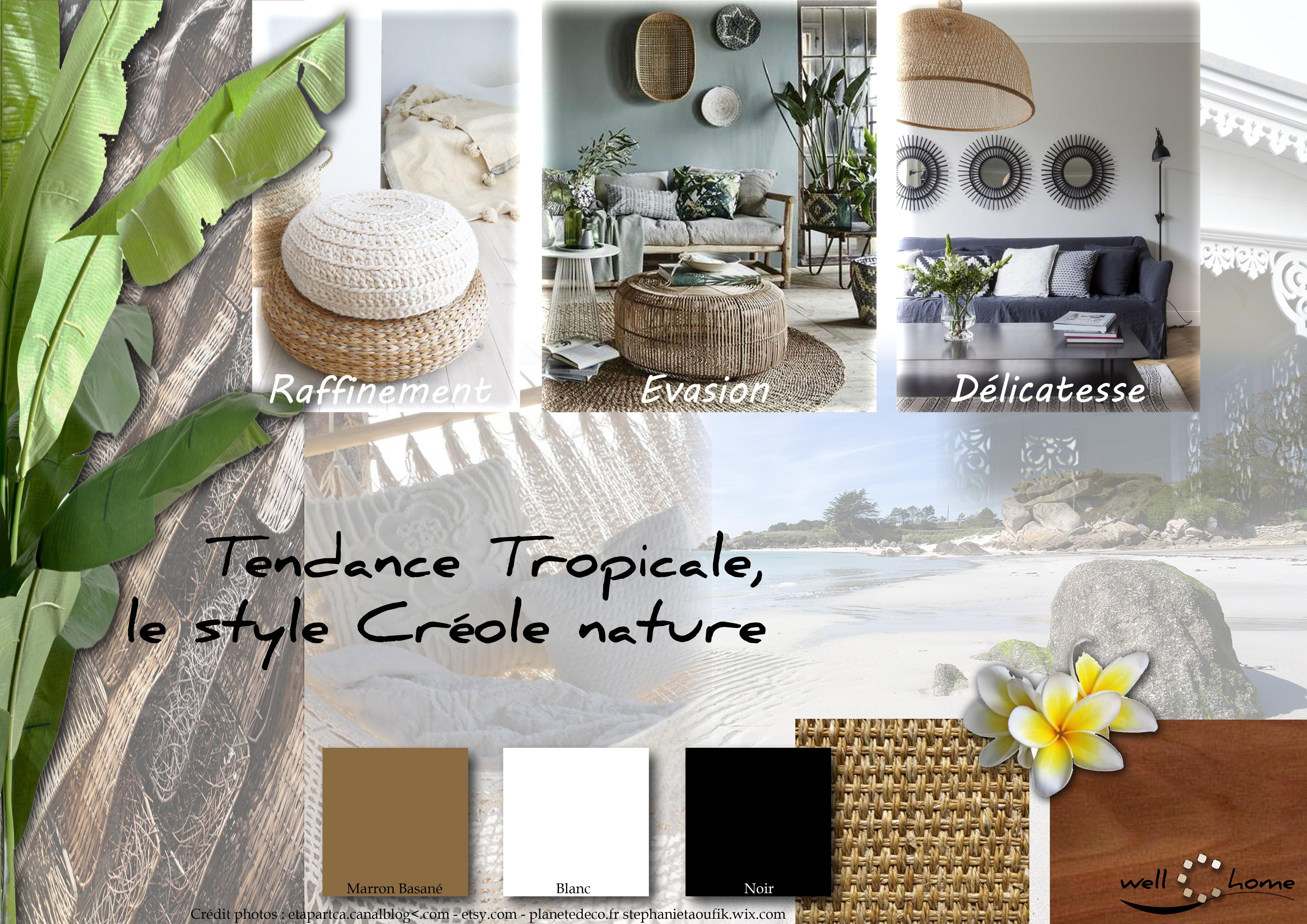 moodboard - déco, planche d'ambiance, tendance tropicale, style