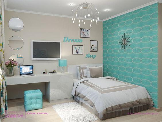 Habitacin Azul Turquesa y Tiffany  70 Modelos Para