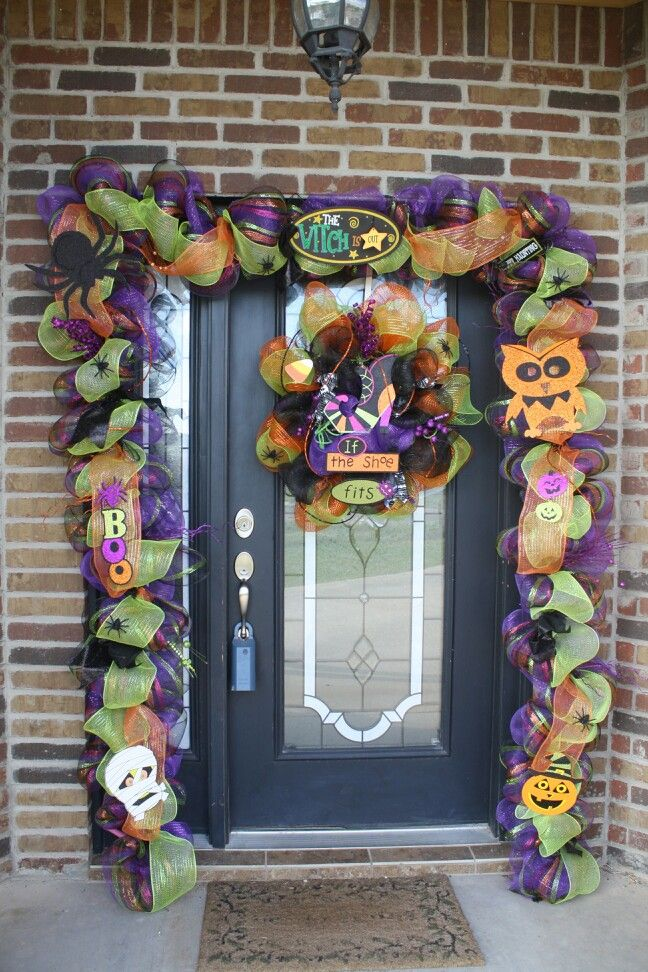 19ft halloween door garland 200 - Deco Mesh Halloween Garland
