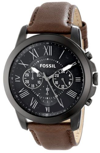 2bb8eccc3966 BUY NOW Fossil Men s FS4885 Grant Stainless Steel Watch with Brown Leather  Band This unique Fossil FS4885 mens analog quartz chronograph watch