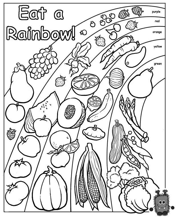 eat the rainbow coloring page - Nutrition Coloring Pages Kids