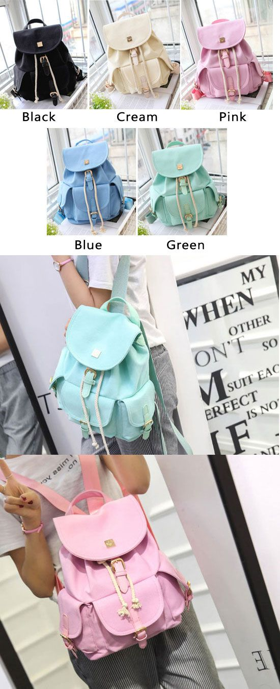 e22ee597df I like the mint green backpack!!! Sweet Candy Canvas College Rucksack Mint  Green Pure Color Girls Backpack from ByGoods.com  candy  canvas  college ...