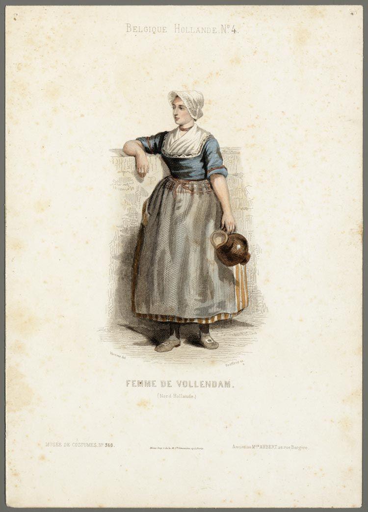 Vrouw met melkkan uit Volendam In: Musée de Costumes / Aubert et cie. - Paris : Aubert et cie, 1850-1860 Verveer, Elchanon Leonardus (1826-1900) Geoffroy, C. #NoordHolland #Volendam