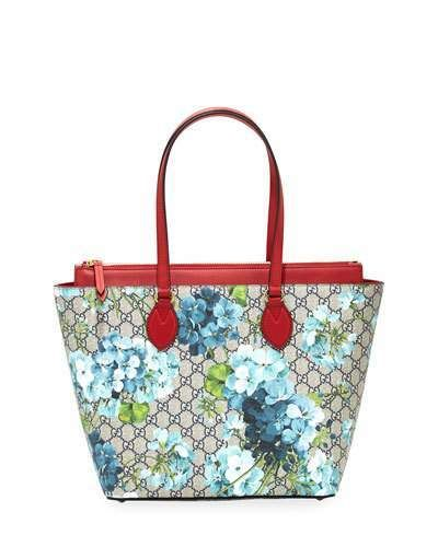 Gucci Gg Blooms Medium Tote Bag Blue Multi Gucci Blooms Print