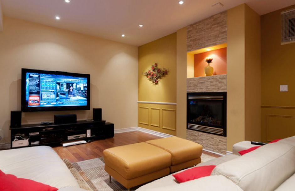 Nice Comfortable Nice And Charming Basement Living Room Ideas With Nice  Fireplace And Modern Tv Also Yellow Coffee Table And White Ceiling Design