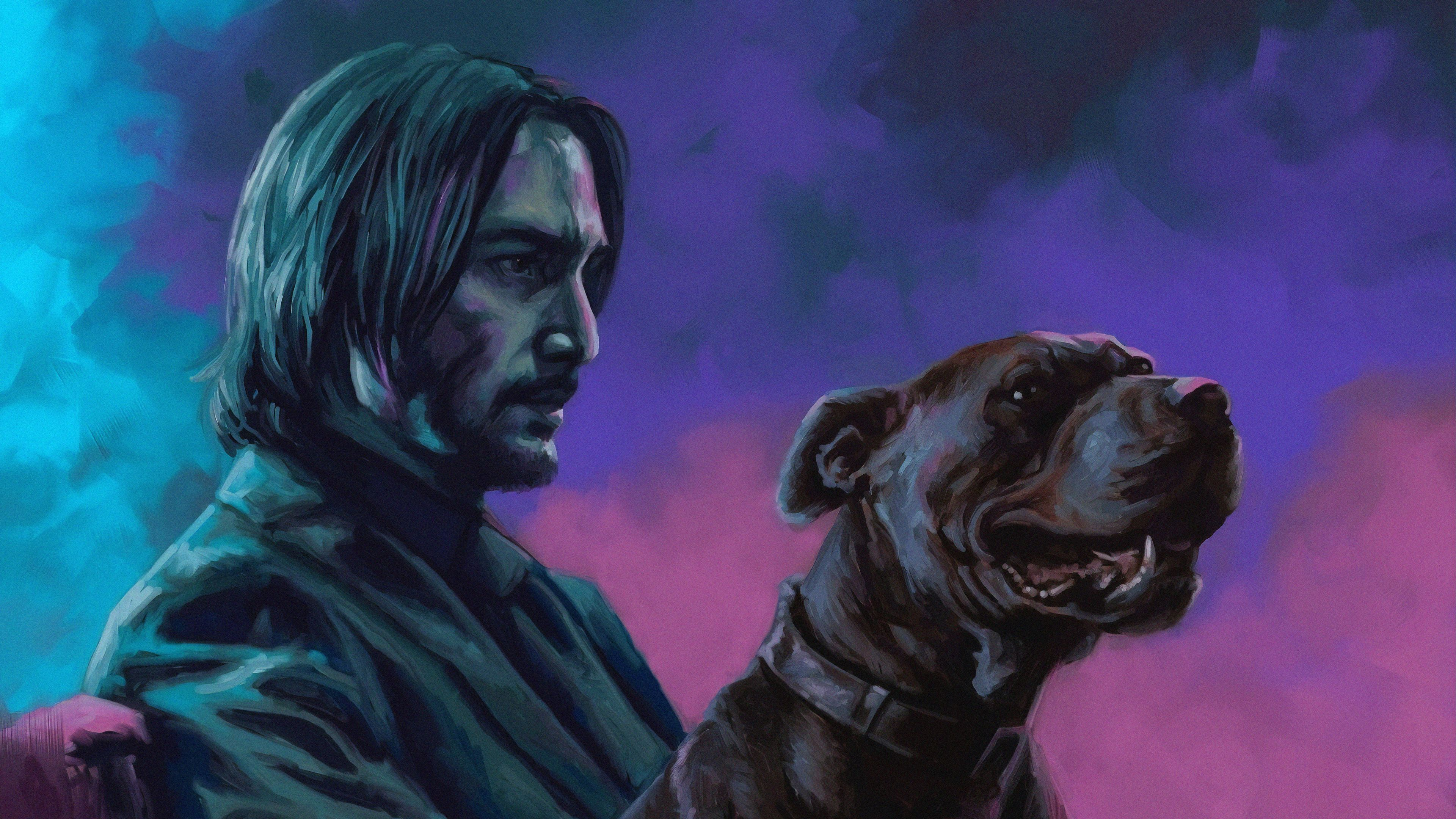 John Wick With Dog John Wick Wallpapers Hd Wallpapers Artwork Wallpapers 4k Wallpapers In 2020 Movie Artwork Artwork Animal Wallpaper