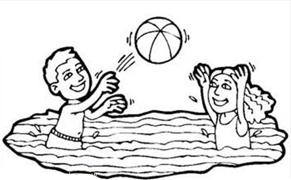 Volleyball In A Swimming Pool Coloring Page Download Print Online Coloring Pages For Free Color Nimb Online Coloring Pages Coloring Pages Online Coloring