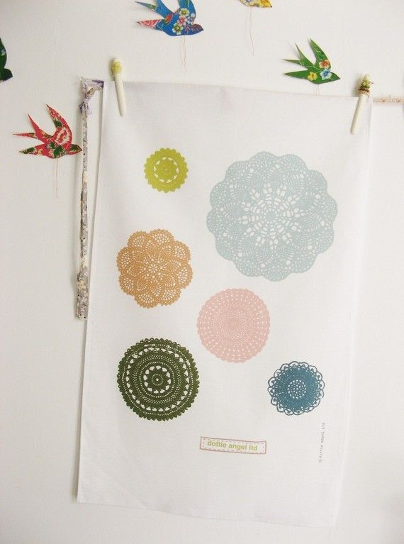 This tea towel reminds me of my Grandma's doilies. From etsy seller dottieangel.