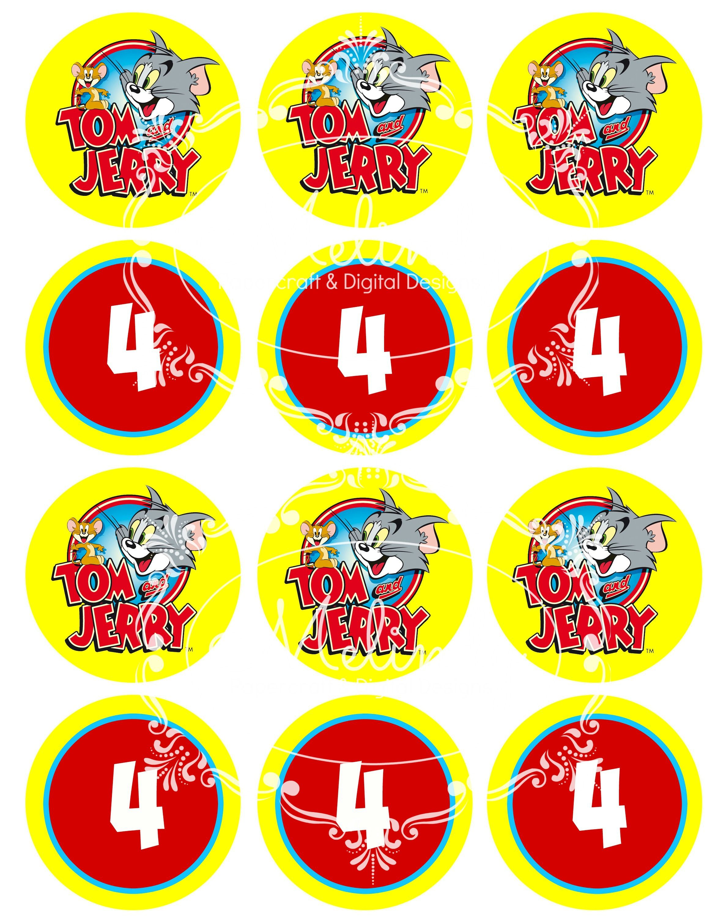 Tom and Jerry Cupcake toppers Childrens Party Designs by Melindy