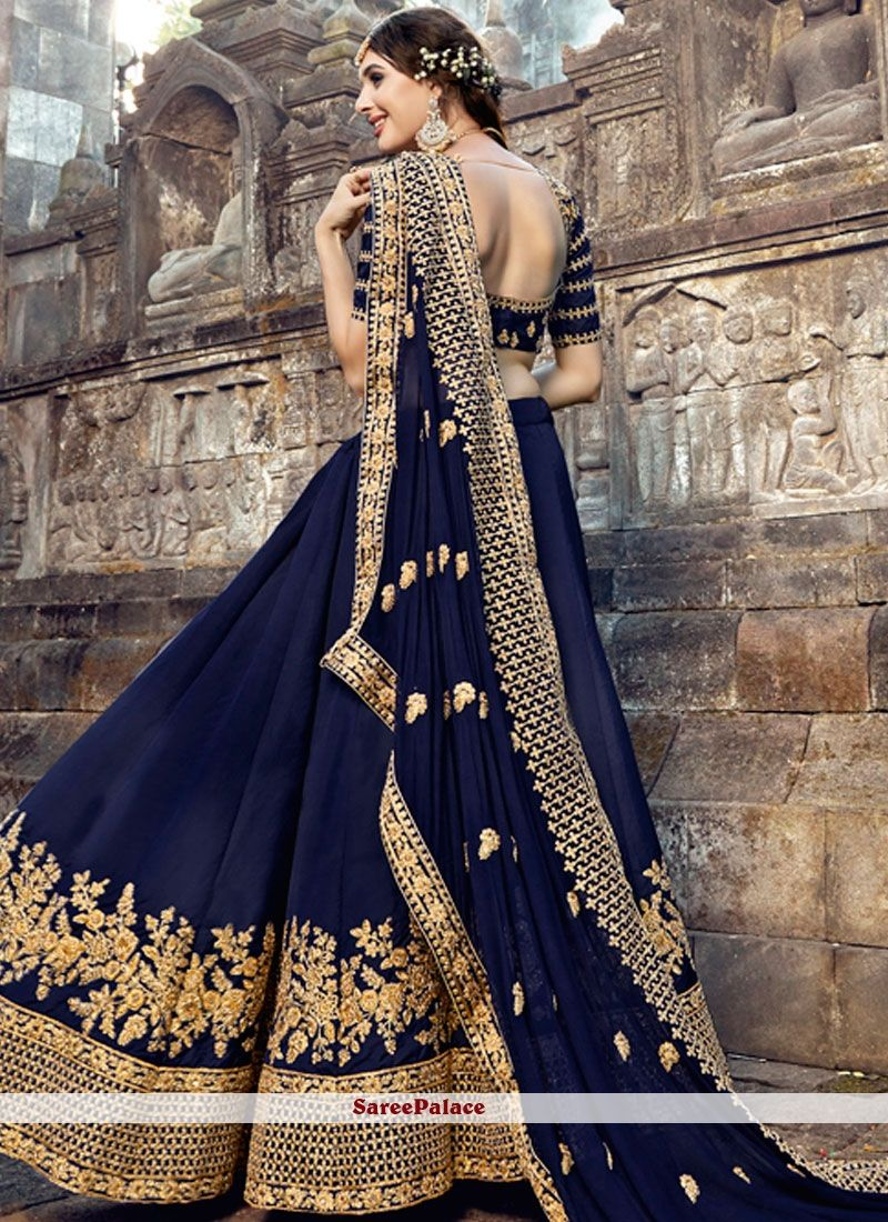 51b2003ef82c Buy Zari Work Navy Blue Silk Designer Lehenga Choli Online