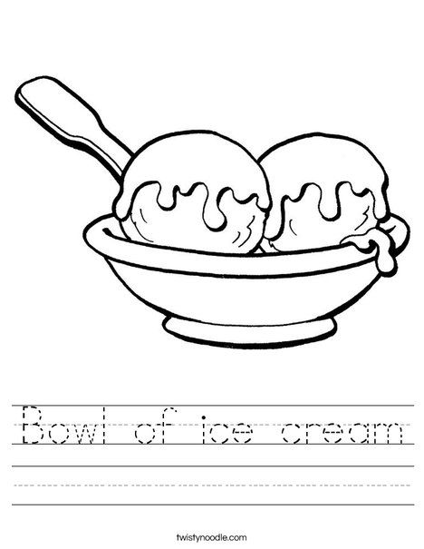 Bowl Of Ice Cream Worksheet Ice Cream Cream Ice