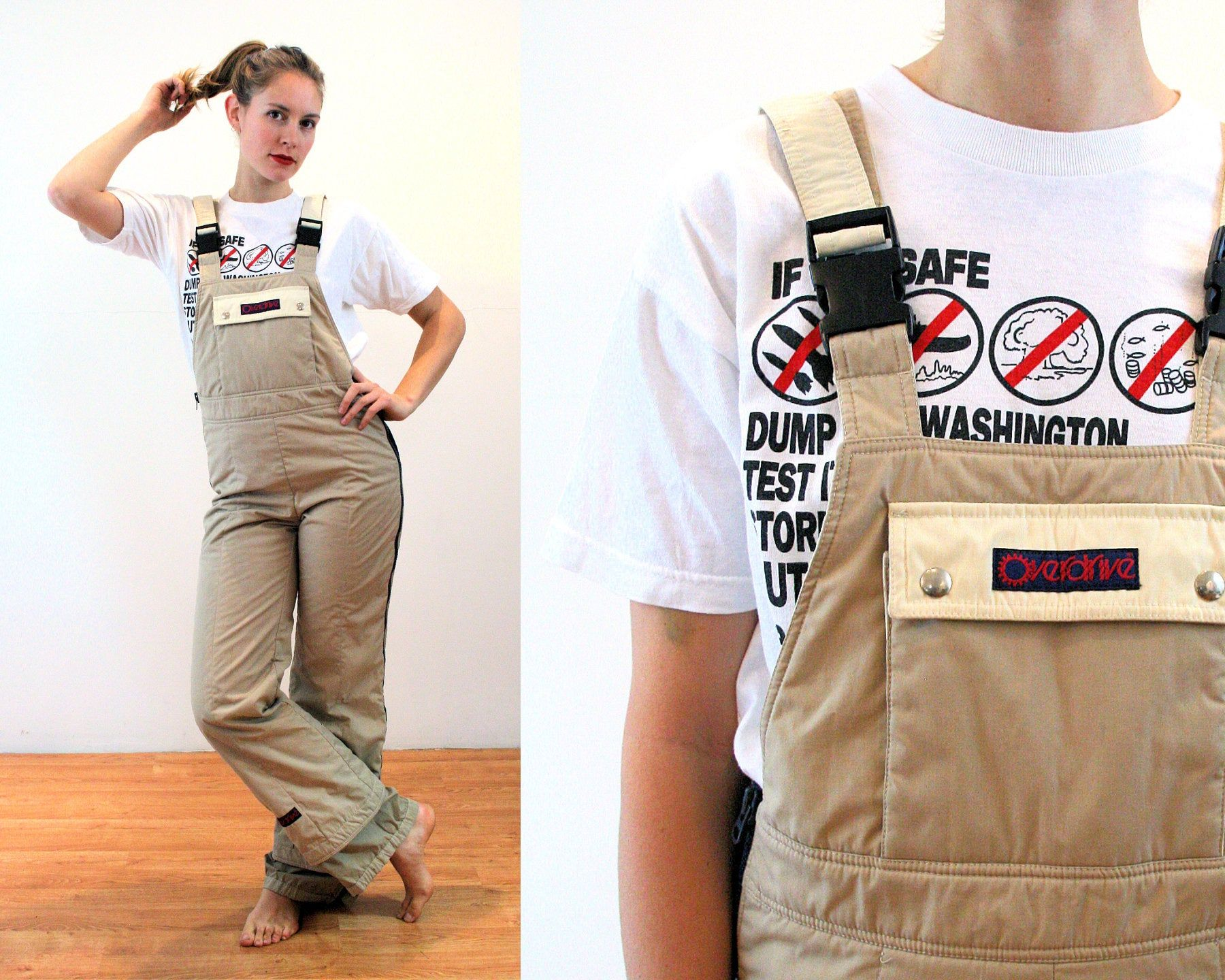 70s overalls ski suit m tan winter insulated coveralls on insulated overalls id=77552