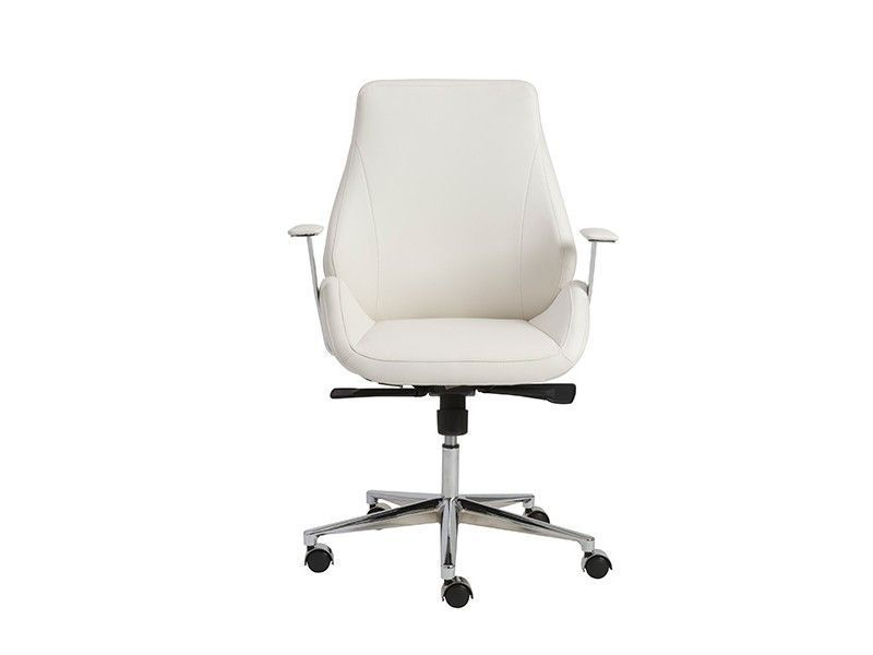 bergen collection modern white leather chrome office chair white