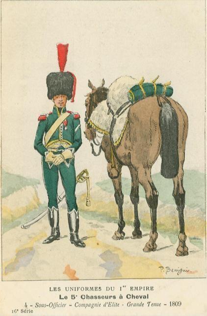 Sottufficiale della compagnia di élite del 5 rgt. Cacciatori della linea francese