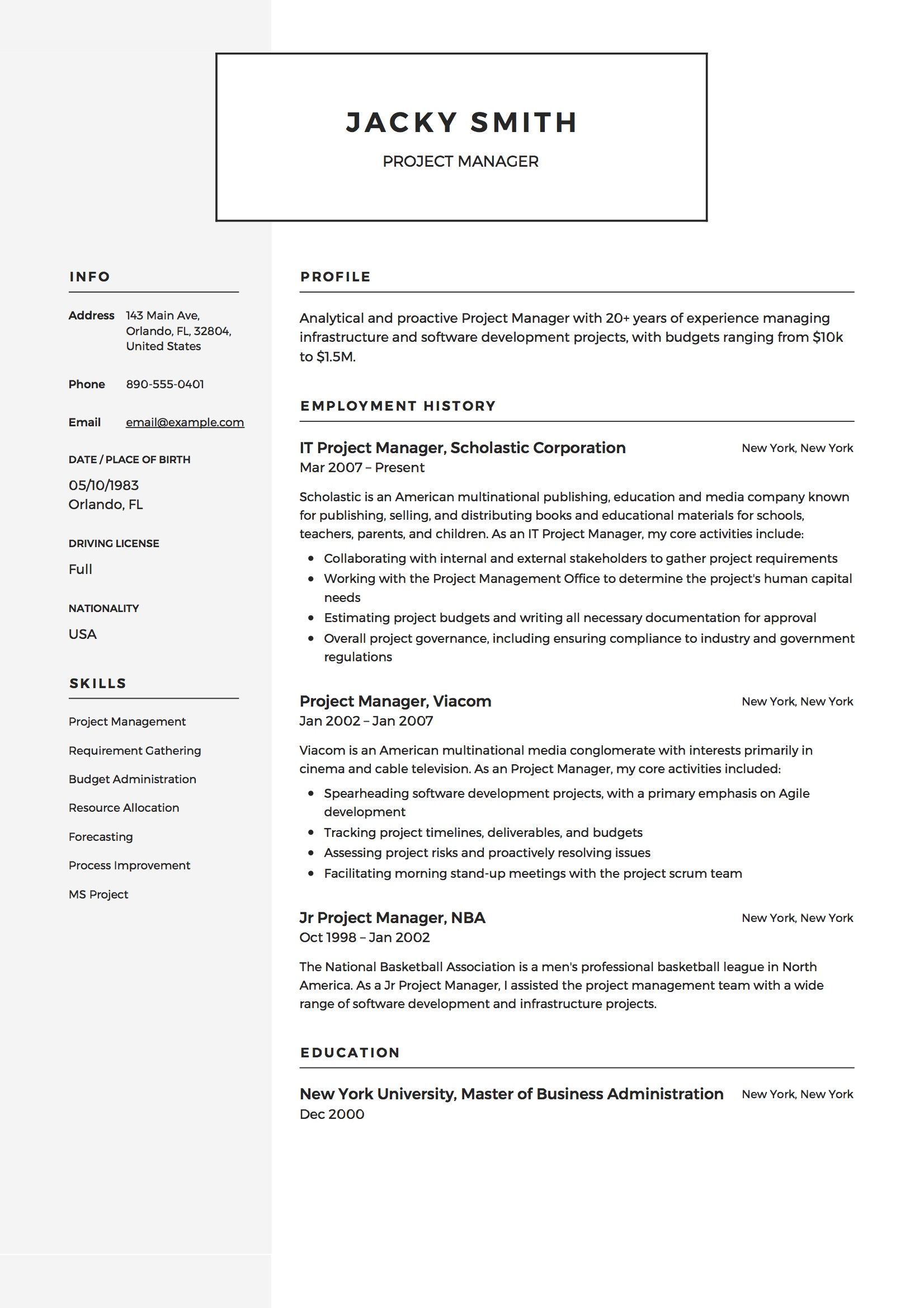Project Manager Resume Example Project Manager Resume Basic Resume Examples Resume Examples