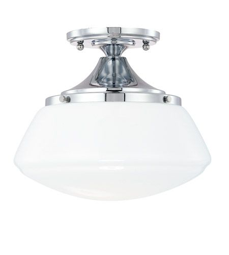 Capital lighting 3537ch 129 schoolhouse 1 light 11 inch chrome semi flush mount ceiling light in milk