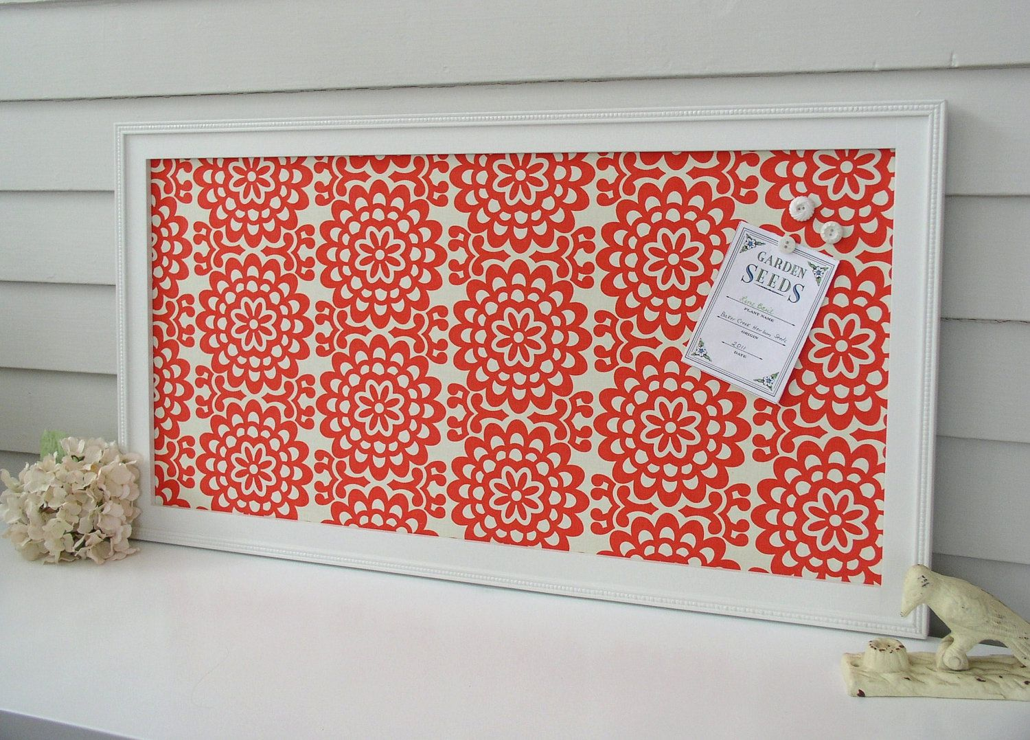 Bulletin board message center magnetic organizer framed memo magnet board with coral red floral amy butler fabric shabby chic via etsy