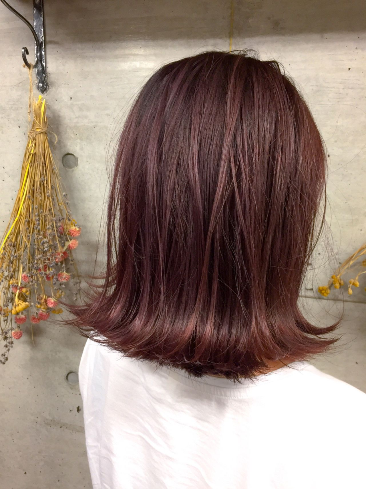 髪 チェリー 色 ピンク