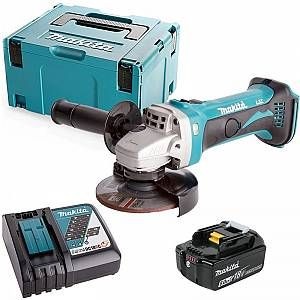 Makita DGA452 18v 115mm Angle Grinder With 1 x 6.0Ah Battery, Charger & Case - DGA452-KIT-123