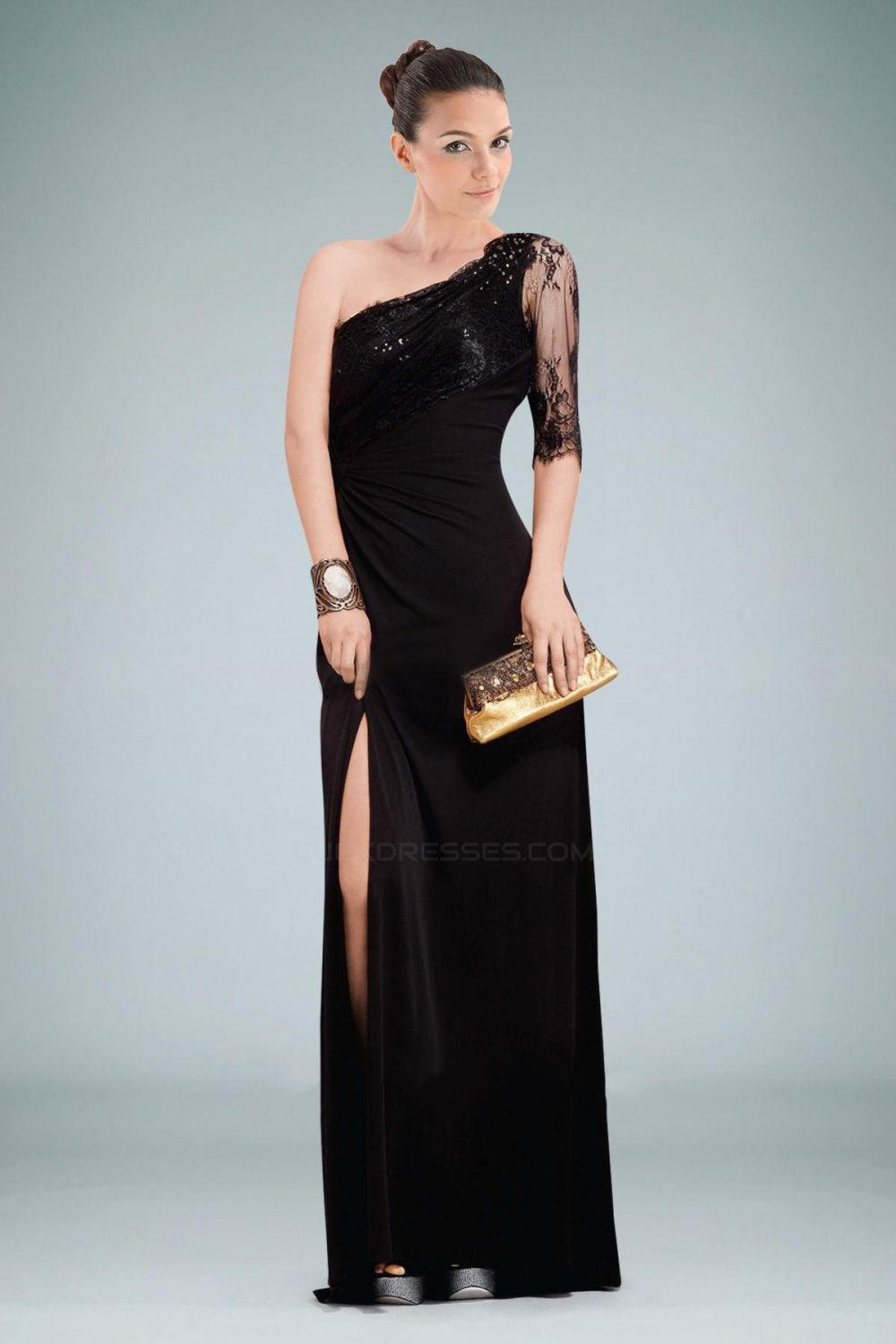 Sheath one shoulder sleeve long black lace prom evening dresses