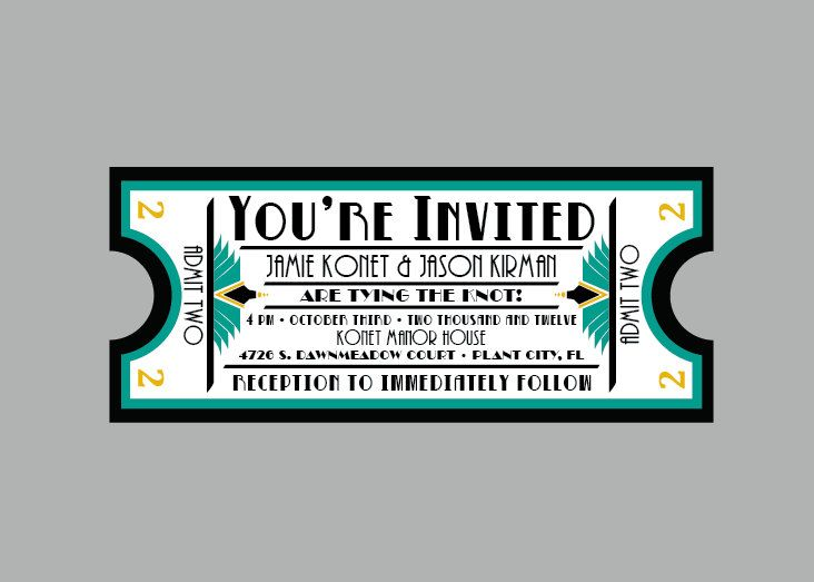 vintage - 1920s antique art deco movie ticket wedding invitation, Wedding invitations