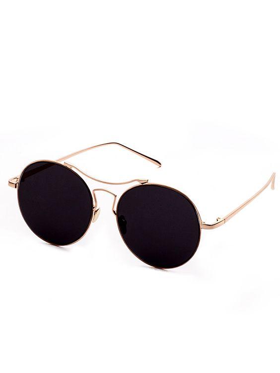 4ad4fc8a94fa Gold Frame Double Bridge Black Lens Sunglasses | Black Mirror ...