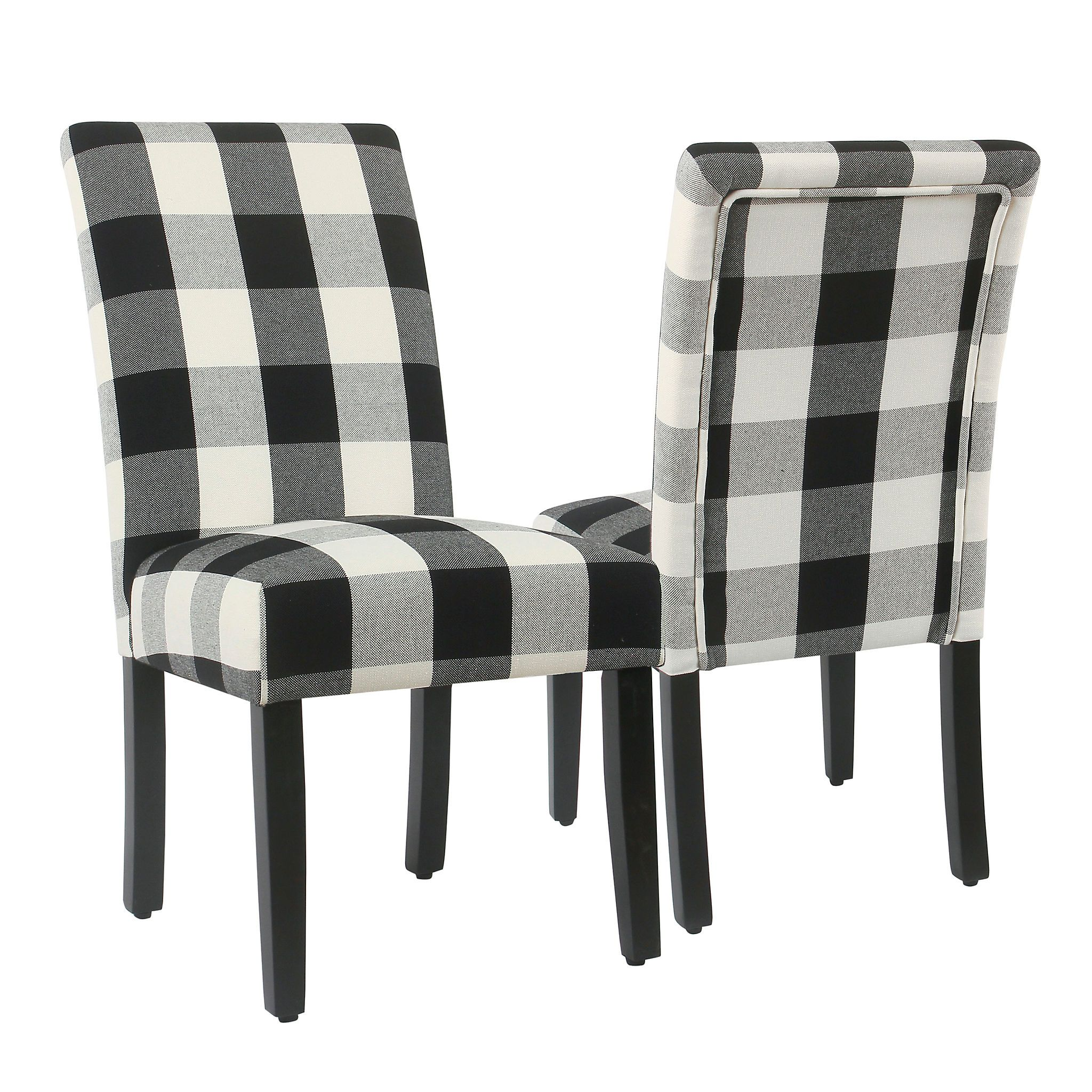 Best Black Buffalo Check Dining Chairs Set Of 2 Parsons 640 x 480