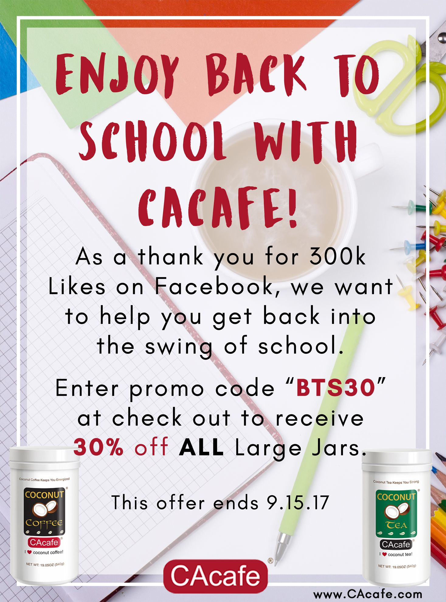Enjoy BacktoSchool with CAcafe. Get 30 off all Large