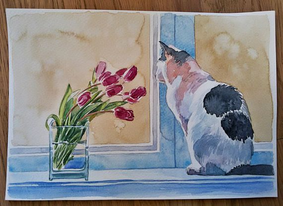 A Beautiful One Of A Kind Handmade Watercolour Painting On Heavy